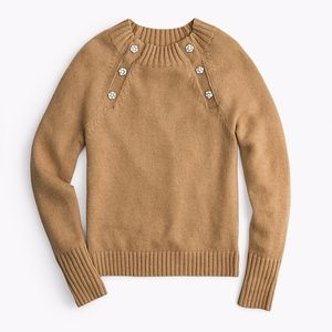 J.CREW WOMEN'S WOOL CRYSTAL JEWEL BUTTON SWEATER